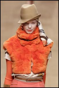 Blugirl AW11 - Orange Emberglow Cropped Fur Gilet Jacket.