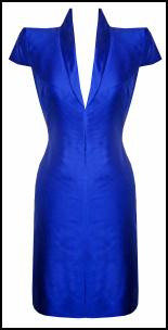 Burnt Out But Opulent -  Alexander McQueen Blue Structured Pencil Dress