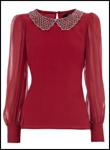 Warehouse AW11 Deep Red Cocktail Blouse With Peter Pan Beaded Collar.