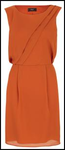 F&F Orange Pleat Shift Dress.
