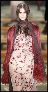 Just Cavalli Catwalk Pink Coat and Embriodered Dress.