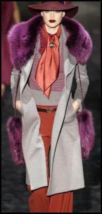 Gucci Catwalk Grey Coat Teamed With Orange Rust Trousers.