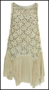 Gold Beads Detail & Limited Edition Cream Chiffon A-line Dress