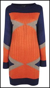 Dorothy Perkins Orange/Navy Cable Rib Sweater Dress.
