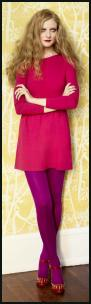 Miss Selfridge AW11 - Pink Tunic Dress, Purple Opaque Tights.