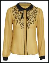 Mustard Blouse with Black Decoration, Black Collar and Cuffs.