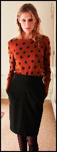 Black Pencil Skirt, Orange and Black Spot Jumper.