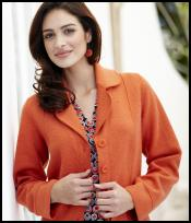 Orange Boiled Wool Jacket.