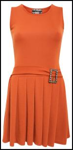 Orange Rust 60s Pleated Quant Dress Buckle Detail.