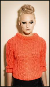 Tangerine Peach Rib and Cable Knit Sweater.