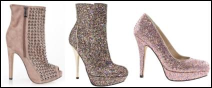 Pink Glitter Stud Ankle Boots and Court Shoes.
