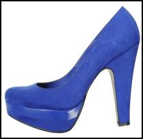 Beautiful Bright Blue Platform Court Shoes.