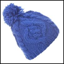 Blue Cable Knit Pom Pom Bobble Hat.