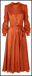 Wallis Orange Rust Satin 70s Dress.
