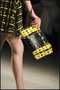 Holly Fulton Black Yellow Clutch Handbag,