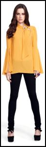 Yellow Flare Blouse & Black Skinny Jeans.