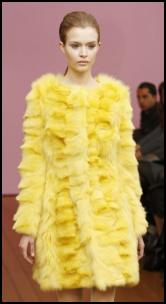 Philosophy - 60s Inspired Baby Doll Yellow Fur Coat.