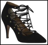 Bertie - Sindie Laced Black Ankle Strap Court Shoe.