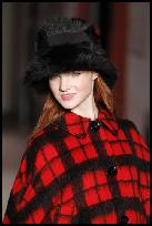 Red Black Check Tartan Cape.
