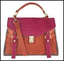 ASOS Leather Colour Block Rust/ Pink Satchel
