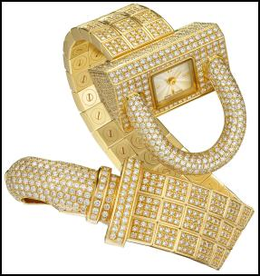 Cadenas Watch, Yellow Gold & Pav� Diamonds.