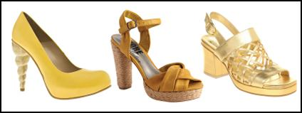 Sculptured Fashion Heels - Yellow Court Shoes.