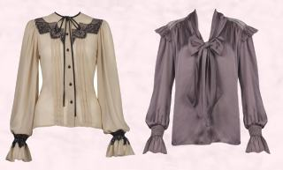 Button Front Lace Shirt & Tie Neck Shoulder Frill Bell Sleeve Blouse.