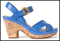 Hush Puppies - Cork Sole Heel Blue Sandals.