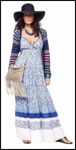 Monsoon - Blue Tiered Max Petal Print Dress.