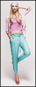 Pink Sequin Jacket With Waterfall Front, Pink Cropped T-Shirt, Turquoise Harem Trousers.