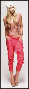 New Look Salmon Top & Coral Silk Harems Pants.