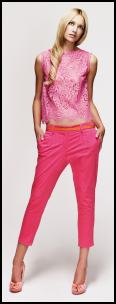 New Look Pink Lace Top and Bright Pink Capri Pants