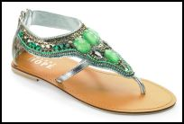 Toe Post Galdiator Sandal With Green Beads