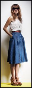 1970's Retro Blue Denim Skirt.