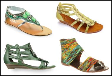 Colourful Green Gladiator Sandal Styles Summer 2011.