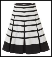 Principles By Ben De Lisi - Monochrome Black & White Stripe Cotton Sateen Skirt.