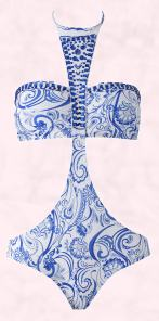 Blue Paisley Cut Out Swimsuit.