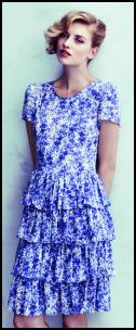 Blue and White Viscose Tiered Print Dress.
