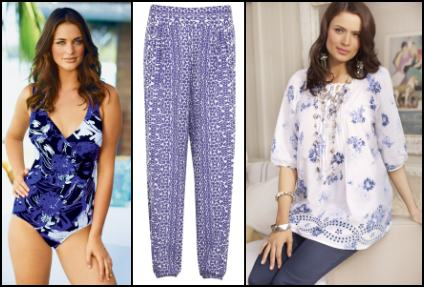 Blue Print Swimsuit, Beach Trousers, Smock Top.