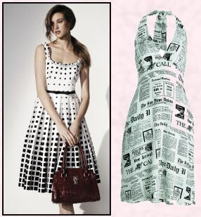 Halter Neck Black on White Newspaper Print Dress.