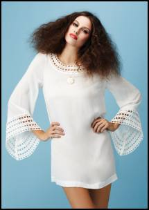 Crochet Trim White Kaftan Tunic Top, White Rose Necklace.