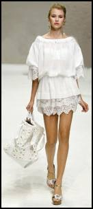 Ladies Dolce Gabbana Lace Hem White Tunic