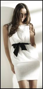 Phase Eight White Shift Dress - Black Bow.