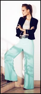 Wide Palazzo Mint Green Trousers & Short Blazer.