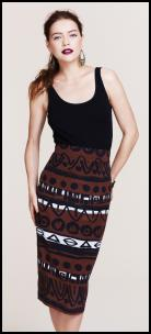 Tribal Print Black Brown Skirt.
