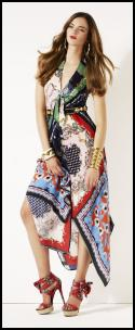 Handkerchief Hem Scarf Print Dress