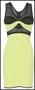 Body Con Sporty Look - Hartley Neon Lemon Aertex Mesh Dress.