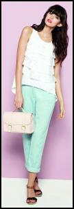 Mint Green Coloured Chinos and Women's Laser Cut Frill Top.