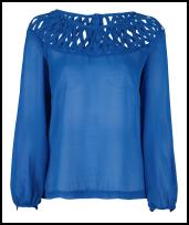 Love Label Lattice Detail Blue Blouse.