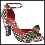 Schuh Cherry Pie Check Fruit Print Ankle Strap Peep Toe Shoe.